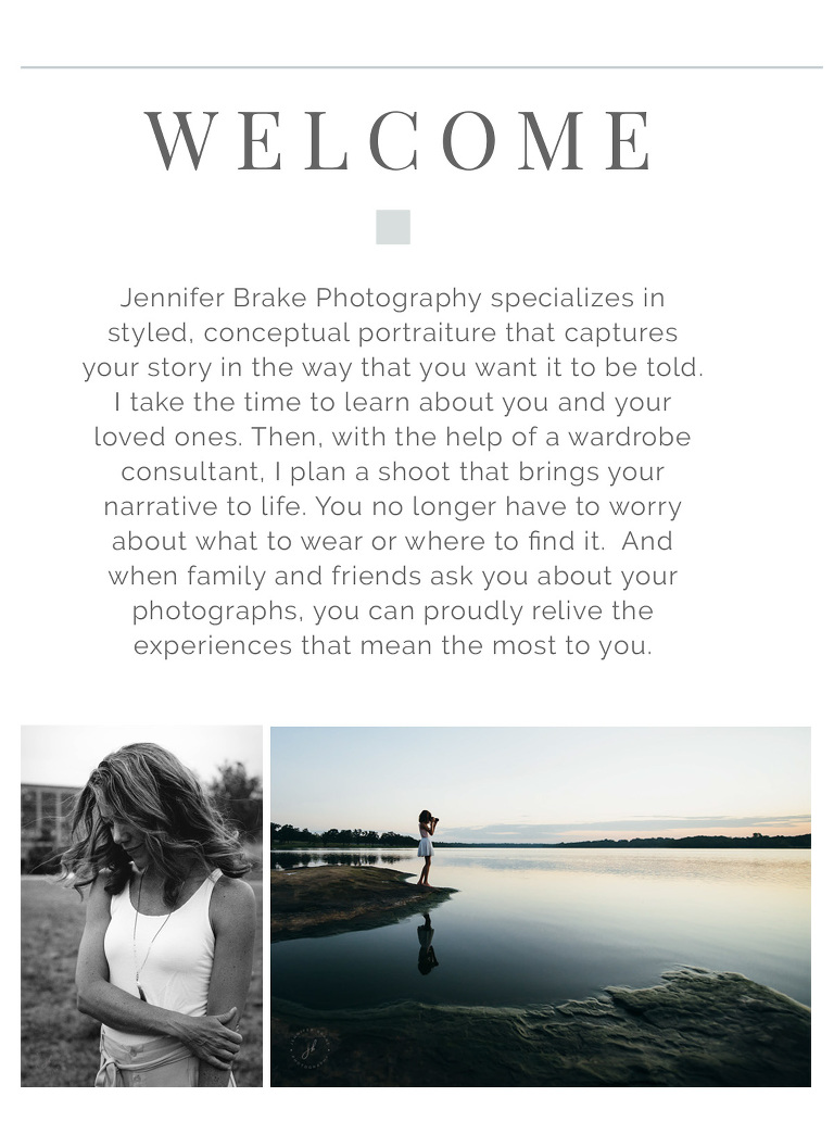 Wecome brochure for Jennifer Brake photography, featuring photos of a beautiful woman shying away from the camera and a young girl taking landscape pictures.